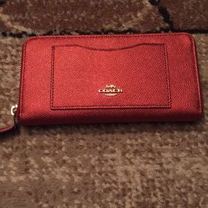 Authentic Ruby Red Coach Wallet